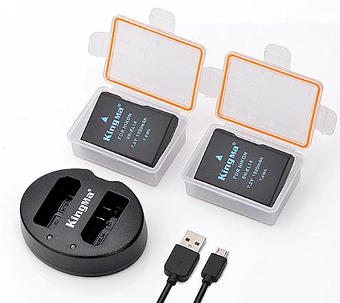 劲码相机电池EN-EL14两电一双充充电器套装