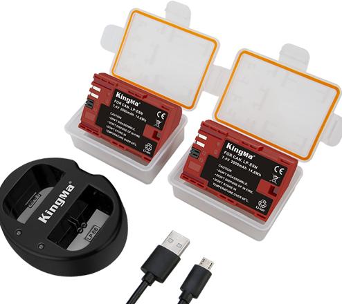 劲码相机电池LP-E6N两电池一双充充电器