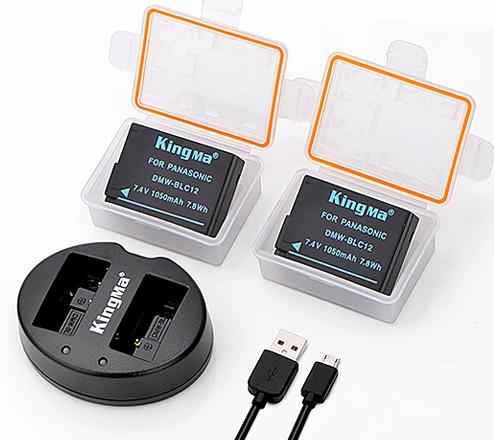 劲码相机电池DMW-BLC12两电池一双充充电器套装