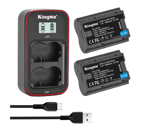 KingMa NP-W235 2-Pack Battery and LCD Dual Charger Kit for Fujifilm X-T4