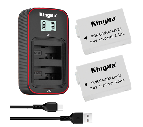 KingMa LP-E8 2-Pack Battery and LCD Dual Charger Kit for Canon EOS 700D 650D 600D 550D
