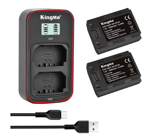 KingMa NP-FZ100 2-Pack Battery and LCD Dual Charger Kit for Sony ILCE-A6600 A7C A7R4 A7M4 A7RIII