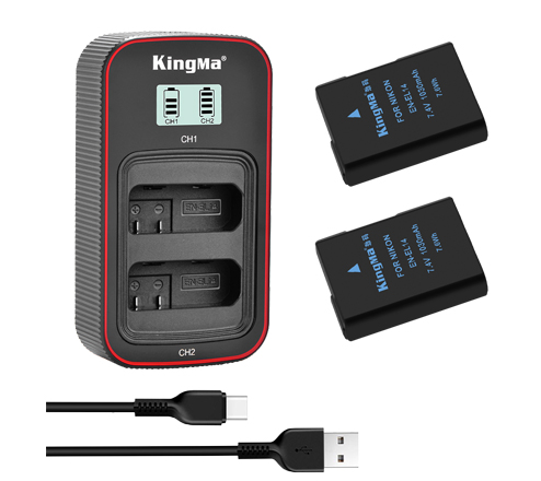 KingMa EN-EL14 2-Pack Battery and LCD Dual Charger Kit for Nikon D3100 D3200 D3300 D3400