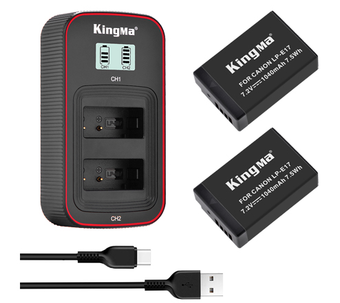 KingMa 1040mAh LP-E17 2-Pack Battery and LCD Dual Charger Kit for Canon EOS RP 750D 760D 800D 850D
