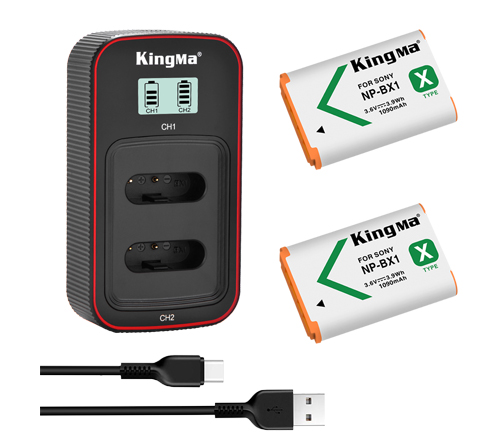 Kingma NP-BX1 2-Pack Battery and LCD Dual Charger Kit for Sony RX100 M7 M6 M5 M4 M3 M2