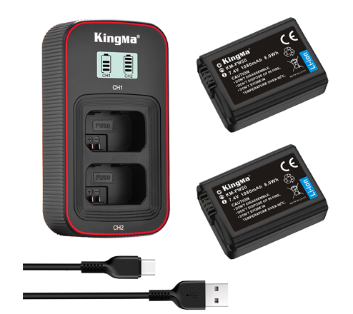 Kingma NP-FW50 2-Pack Battery and LCD Dual Charger Kit for Sony A7 A7R2 A7M2 A6300 A6000 A5000