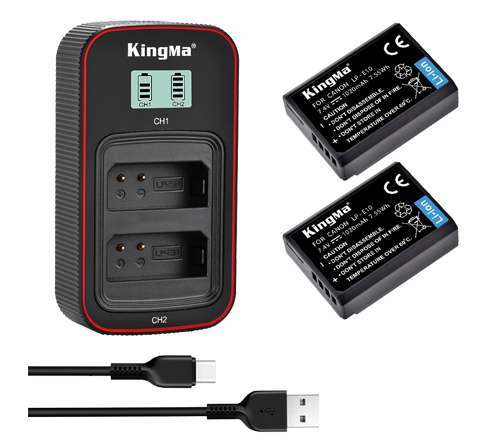 KingMa LP-E10 2-Pack Battery and LCD Dual Charger Kit for Canon EOS 1200D 1300D 1500D 1100D