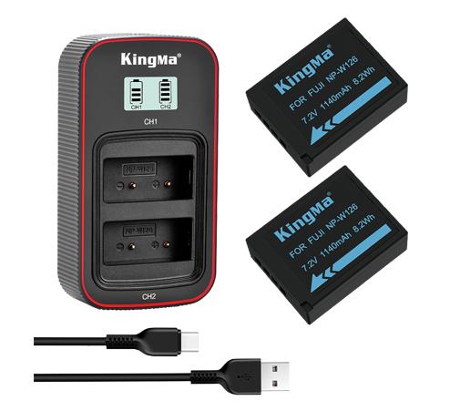 KingMa NP-W126 2-Pack Battery and LCD Dual Charger Kit for Fujifilm XA3 XT20 XA10 XT2 XA2 XT10