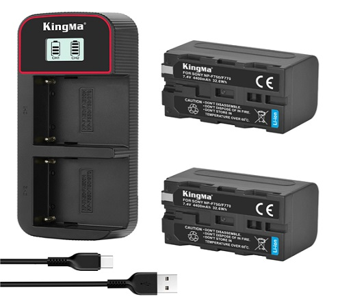 KingMa 4400mAh NP-F750 2-Pack Battery and LCD Dual Charger Kit for Sony D3100 D3200 D3300 D3400 D5100