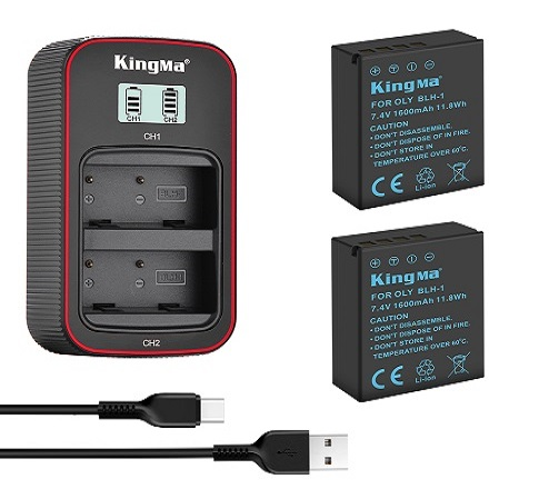 KingMa Camera Battery BLH-1 2-Pack Battery and Lcd Dual Charger Kit for Olympus EM1 Mark II