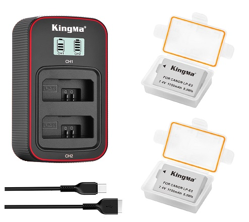 KingMa LP-E5 2-Pack Battery and LCD Dual Charger Kit for  Canon EOS 450D /EOS 500D/ KISS X3