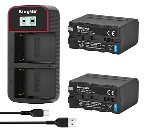 KingMa 6600mAh NP-F970 2-Pack Battery and LCD Dual Charger Kit for Sony FM50 F055H QM71 QM91 F550 F750 F970