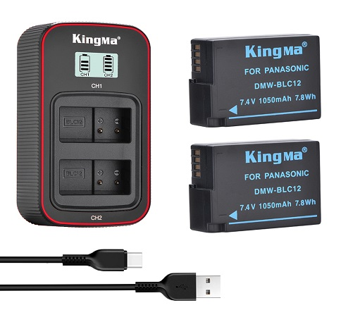 KingMa DMW-BLC12 2-Pack Battery and LCD Dual Charger Kit for Panasonic G6 G7 GH2 FZ2500